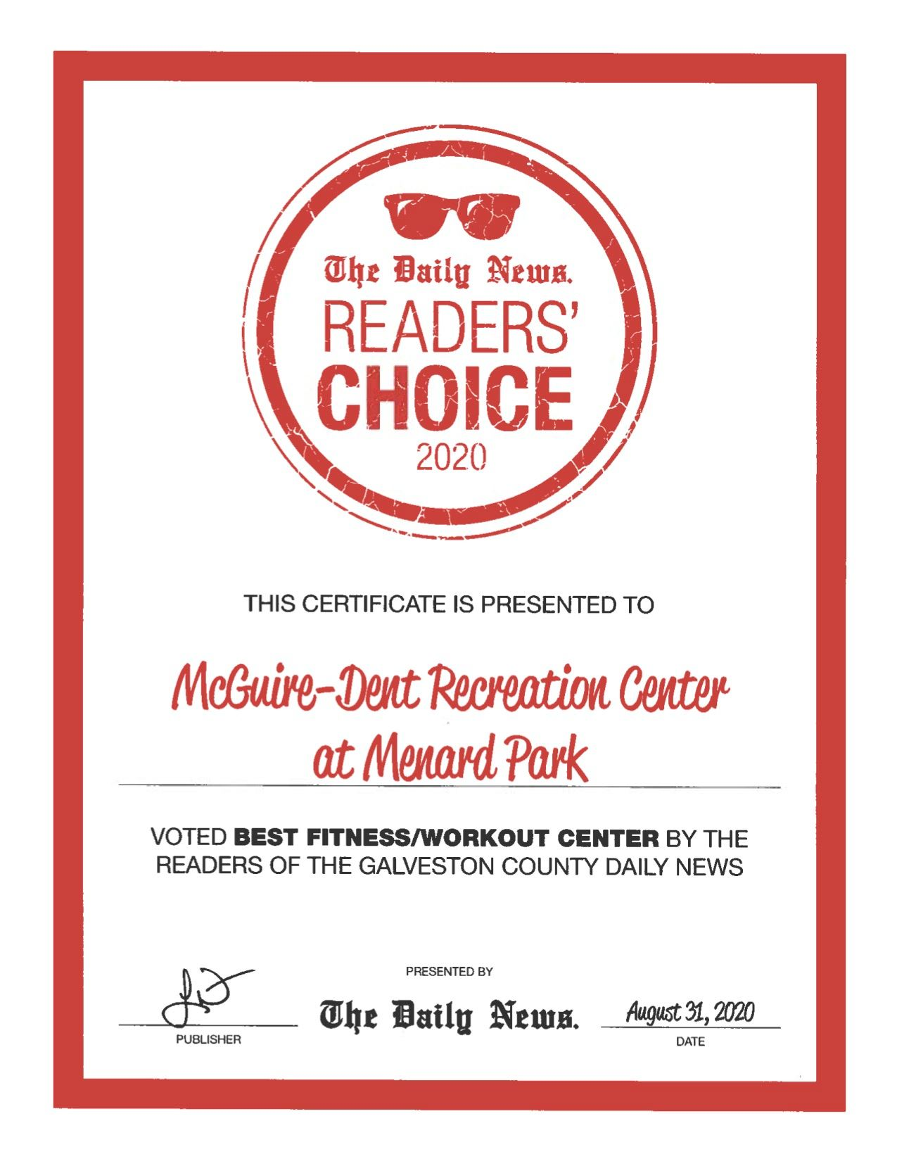 The Daily News Readers Choice Certificate