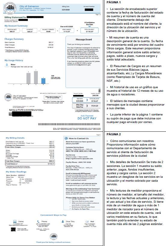 New utility bill spanish